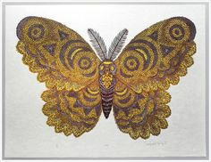 Golden Yellow Moth Woodcut Print, Woodblock Print by Tugboat Printshop