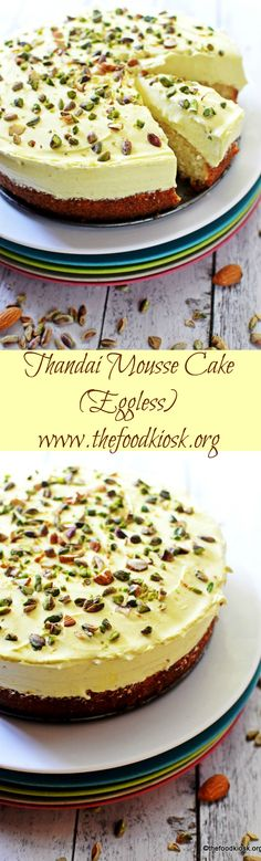 THANDAI MOUSSE CAKE is a prefect combination of soft, eggless cardamom cake and yummy, eggless thandai mousse, this fusion dessert is a head turner anyday.