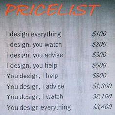Pricelist graphicdesign