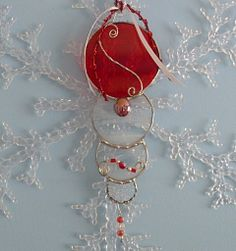 Stained Glass Red Christmas Decorative Suncatcher by miloglass, $14.00