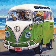 Canvas Artwork, Canvas Wall Art, Canvas Prints, Art Prints, Beach Trip, Summer Beach, Wood Wall Art, Framed Wall Art, Bus Art