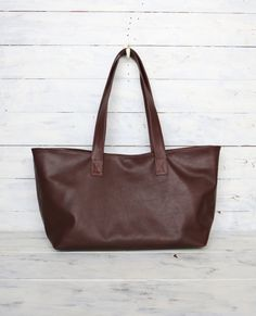 """Chocolate-brown Leather tote bag - Unique, One of a kind , My favorite style- Horizontal Oversized Leather tote is made of very soft Chocolate brown Leather! It is named """" Funagata-tote bag """" in Japanese which is boat-shaped (shaped like a woodenboat ) . It looks very unique and SUPER light weight itself !  This bag is fully lined with Thick Khaki brown cotton with 5 Open Pockets, One zipper pocket . Great as a dairy tote bag,everyday tote, travel tote etc....."""