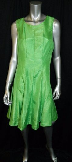 JULIAN TAYLOR NEW YORK NWT Green Sleeveless Raw Satin Knee Length Dress sz 14 #JulianTaylor #Sheath #Cocktail