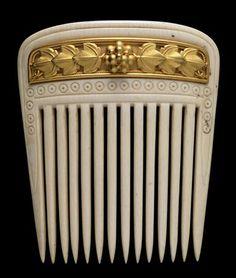 Gold and ivory hair comb, Fortunato Pio Castellani, 1860-1862, Rome, Italy