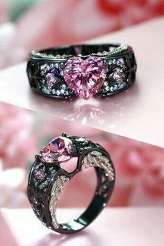 Gothic Jewelry Rings Angel Wing Collection Black And Pink Engagement Ring For Women - Black Wedding Rings, Black Rings, Pink Rings, Gothic Wedding Rings, Wedding Jewelry, Fantasy Jewelry, Gothic Jewelry, Gothic Rings, Cute Jewelry