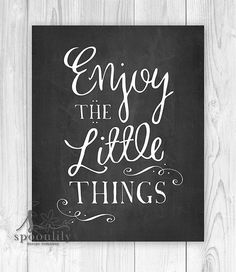 Enjoy the little things Art Print Chalkboard Home by SpoonLily