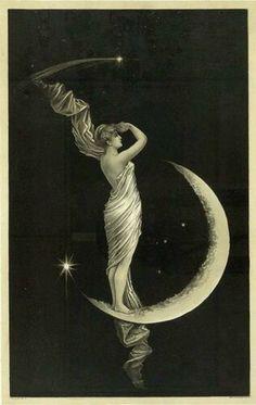 THE UNIVERSAL FAVORITE. Lithograph, 1889 Art Et Illustration, Illustrations, Vintage Moon, Vintage Paper, Vintage Art, Paper Moon, Alphonse Mucha, Moon Goddess, Luna Goddess