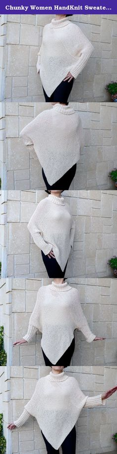 Chunky Women HandKnit Sweater Poncho Elegant Top Sleeves Cape Wraps White Ivory White Loose Cowell Neckline. Hand knit poncho, cover up, shrug cape on the shoulders, shawl wrap shrug, light ivory color, long sleeves, knit sweater. Loose cowell neck line. Perfect for wearing over a jumpsuit, sleeveless long skirt, jeans, leggings! Very soft material which feels good and not scratchy! 80% soft cotton + 20% viscosa yarn. This poncho is very comfortable and pleasant to the touch. Rolled up in...