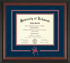 University of Richmond Diploma Frame-Rosewood-3D Cut-Out-Navy/Red – Professional Framing Company