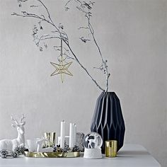 Christmas display that oozes of Nordic elegance. Everything is from Bloomingville. Zara Home Christmas, Christmas Interiors, Scandinavian Christmas, White Christmas, Christmas Holiday, Nordic Home, Luz Led, Xmas Decorations, Christmas Inspiration