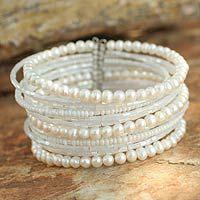Pearl wrap bracelet, 'Tantalizing White'