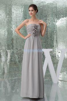 free shipping vestido de festa Formal gown 2015 new design hot sexy gray Custom chiffon handmade flowers long evening dress