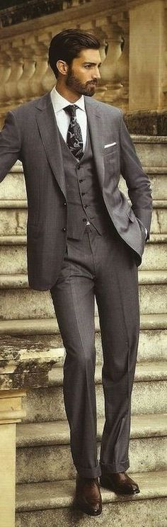 Mens fashion, suit, and beard
