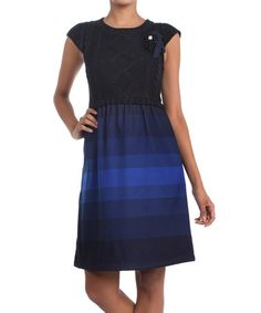 Take a look at this Blue Knit Cap-Sleeve Dress by Farinelli on #zulily today!