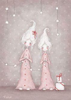 Art by Sasha Salmina Christmas Topper, Pink Christmas, Christmas Pictures, Vintage Christmas, Christmas Crafts, Illustration Noel, Christmas Illustration, Christmas Drawing, Christmas Paintings