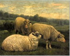 Arthur Fitzwilliam Tait - Three Sheep 1901 Painting