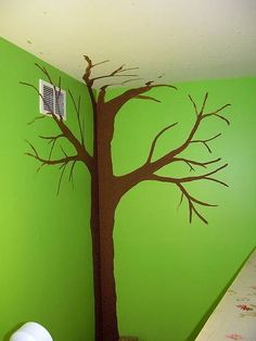 If you are looking for a cool way to decorate a child's room, consider painting tree mural on their bedroom wall. A tree mural is fun and easy to paint and it can be done by almost any adult (or mature teen). Tree Wall Painting, Tree Wall Murals, Diy Painting, Wine Bottle Trees, Wall Paint Patterns, Tree Stencil, Classroom Walls, Classroom Decor, Tree Designs