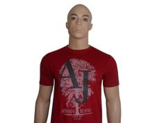 Armani Jeans Slim Fit T-Shirt -- Style  Price: £49.99 GBP  Armani Jeans carmine red short sleeved round neck, 100% cotton slim fit t-shirt with AJ classic front print.