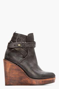 RAG & BONE Black Leather Emery Wooden Wedge Boots