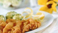 Simmone Logue's pork schnitzel | Simmone Logue's pork schnitzel Schnitzel Recipes, Pork Schnitzel, Large Fries, Rocket Salad, Pork Fillet, Sbs Food, Albondigas, All Vegetables, Sourdough Bread