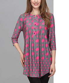 Reborn Collection Pink & Gray Dot Notch Neck Tunic | zulily