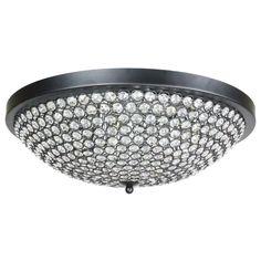 Large Bowl Style Crystal Flush Mount 9-light Black Ceiling Fixture    eBay