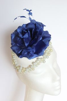 White satin cap, blue rose and feathers with a pearl trim. Small hat perfect for a wedding guest or day at the races. Race Day, White Satin, Feathers, Cap, Pearls, Button, Rose, Wedding, Baseball Hat