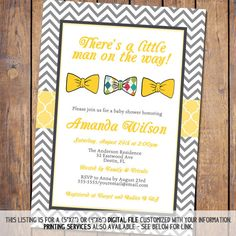 Hey, I found this really awesome Etsy listing at https://www.etsy.com/listing/177331944/boys-baby-shower-invitation-with-bow