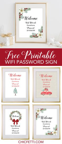 Holiday Free Printable Wifi Password Signs from @chicfetti