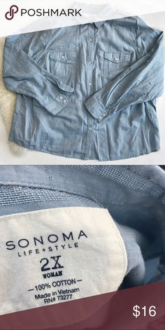Light blue button down Very comfy and breathable fabric. Only worn once. Sleeves can be cuffed. Buttons have vintage/worn look to them. 100% cotton. Sonoma Tops Button Down Shirts