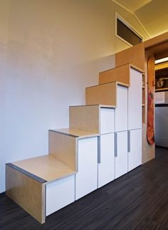 Shedsistence Tiny House 007 storage stairs to loft