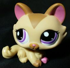 Littlest Pet Shop Tan/Brown Crouching Kitty Cat Purple Eyes LPS 1584 Hasbro 2006 #Hasbro