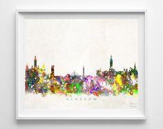 Glasgow Skyline Watercolor Print
