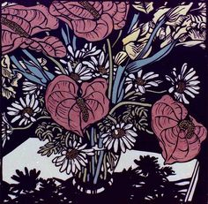 David Preston - linocut anthuriums