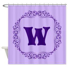CUSTOM Monogram Florid Block Purple Shower Curtain