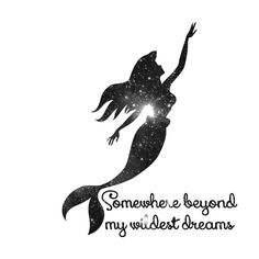 The Little Mermaid Cosmic Black and White Wildest Dreams Canvas Print