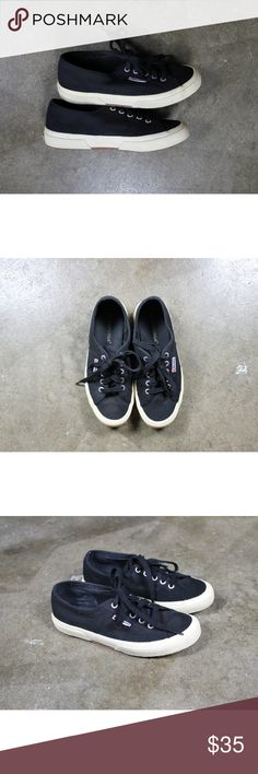 Superga black canvas lace up sneakers EU 38 US 7.5.  Superga black canvas lace up sneakers.  Gently used, some wear/markings on soles and rubber.  Slight wear on uppers.  See photos. Superga Shoes Sneakers