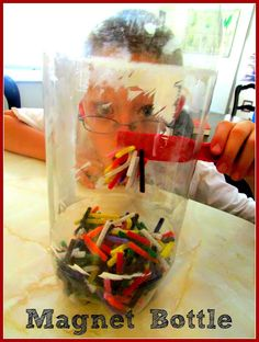 """Pipe Cleaner Magnet Bottle """"Busy Bag"""" Idea: put a smaller bottle inside the bigger bottle and have students try to """"move the pipe cleaners into the smaller bottle activity""""."""