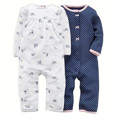 Carters Baby Girls 2pack Jumpsuit Set 3 Months BlueWhite -- Continue to the product at the image link.