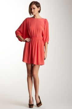 Pippa Coral Dolman Sleeve Silk Dress
