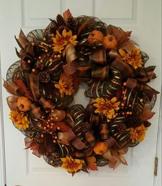 Fall deco mesh wreath with pumpkins, flowers, berries and pretty ribbon. Easy. by marlas