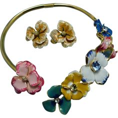 KJL Kenneth Jay Lane Gold Multi Enamel & Crystal Flower Garden Collar Necklace Set - KJL Kenneth Jay Lane Gold Multi Enamel & Crystal Flower Garden Collar Necklace Set