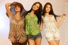 Blusa em crochê ponto abacaxi com passo a passo e gráfico - Katia Ribeiro Crochê Moda e Decoração Handmade