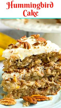 Hummingbird Cake Hummingbird Cake is a dense and moist southern cake flavored with bananas, pineapple, and cinnamon and covered in a rich cream cheese frosting topped with toasted pecans. Hummingbird Cake Recipes, Hummingbird Food, Pavlova, Cupcakes, Cupcake Cakes, Baking Recipes, Dessert Recipes, Baking Ideas, Moist Cakes