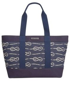 TOMMY HILFIGER Tommy Hilfiger Daphne Knotted Rope Canvas Tote. #tommyhilfiger #bags #hand bags #canvas #tote #lining #