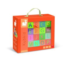 Learning the alphabet just became even more fun with Janod's Alphabet blocks. This amazing set also doubles as a puzzle and is a great learning tool. Each side of the block has something different, including an uppercase letter, lowercase cursive letter, animal, pattern, a question mark and the Janod logo. www.Ygrowup.net #Educationaltoys #KidsToys #BabyToys #ToddlerToys