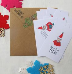 Kids Christmas cards, Elf On The Shelf Notes. Listing is for 8 elf notes perfect for sending a little love in your childs lunchbox this