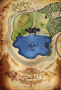 Hogwarts illustrated map #HarryPotter