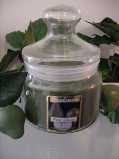 16 oz Apothecary Jar Pear Glaze Scent Candle by Unique Aromas. $26.93. Pear Glaze scent. Candle color may vary from photograph. Price per jar candle. This candle is sure to bring joy and warmth to all those in the presence of it.Some assembly may be required. Please see product details.Some assembly may be required. Please see product details.