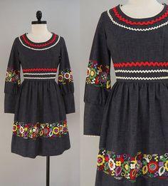vintage 1960s Vicky Vaughn Junior Gray geborduurde jurk /